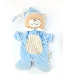 Doudou Marionnette Ours bleu beige Mes Petits Cailloux