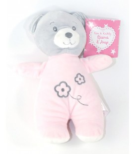 Doudou Ours rose gris 22 cm Tom & Kiddy