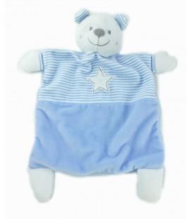 Doudou plat ours blanc bleu rayures Etoile MOTS D ENFANTS
