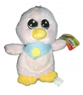 Petite peluche doudou Pingouin oiseau rose Foulard bleu oeuf Peeko 18 cm