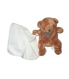Doudou Ours marron Mouchoir blanc 20 cm Baby Nat