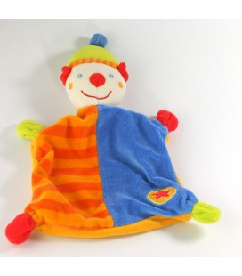 Doudou plat clown orange bleu étoile Baby Sun Babysun