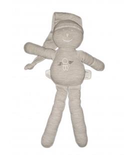 Doudou Lutin gris blanc Obaibi Bonnet 30 cm