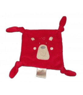 Doudou plat ours Chien rouge blanc 4 noeuds Gemo