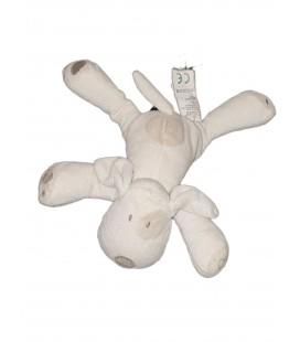 Doudou chien blanc Obaibi Petites billes 16 cm