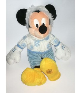 Peluche Mickey Habits hivers Noel Flocons Disney Store Paris 40 cm