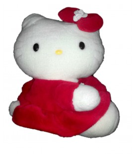 Peluche Hello Kitty Robe Rouge assis 26 cm Sanrio