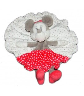 Doudou plat Rond Minnie rouge gris blanc pois Disney