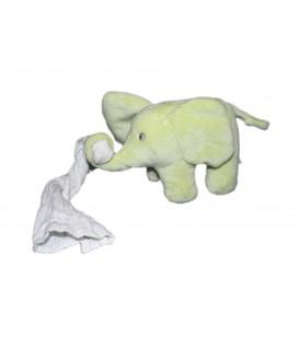 Peluche doudou Elephant vert anis Mouchoir blanc Kimbaloo 20 cm