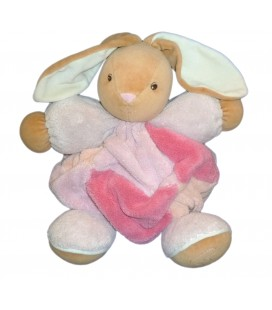 Doudou Lapin rose Patchwork rose beige Grelot KaLOO Coll Plume GM