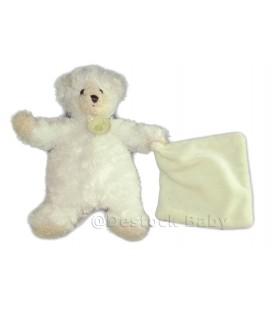 Doudou Ours blanc beige Mouchoir creme Babynat 25 cm
