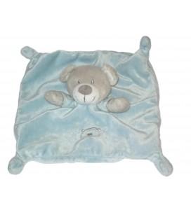 Doudou plat ours bleu gris Vetir Gemo