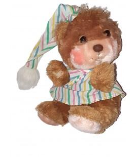 Ancienne peluche Ours marron beige dormeur Fisher Price Chemise bonnet de nuit 26 cm
