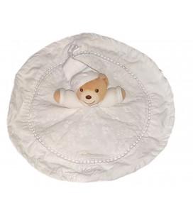 Doudou plat rond blanc ours Dragee Kaloo