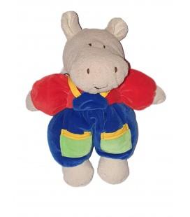 Peluche doudou Hippopotame Salopette rouge bleue Grelot 22 cm Ajena Nounours