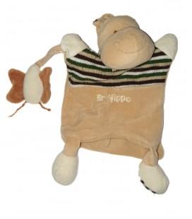 Doudou Marionnette Mr Hippo Hippopotame Papillon Baby Nat