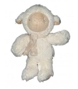Peluche doudou Agneau Mouton blanc Echarpe pois beige 22 cm