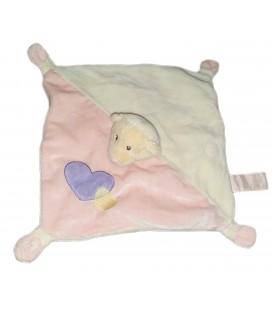 Doudou plat ours blanc rose coeur violet Anna Club Plush