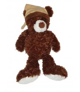 Peluche Ours marron Gipsy bonnet beige 48 cm