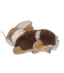 Peluche doudou Lapin marron bleige blanc 24 cm Ajena