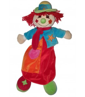 Peluche Doudou Range Pyjama Clown rouge orange bleu coeur 45 cm CMP
