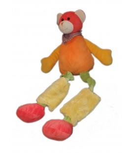 Grande peluche Doudou Ours orange vert rouge 70 cm PLAYKIDS