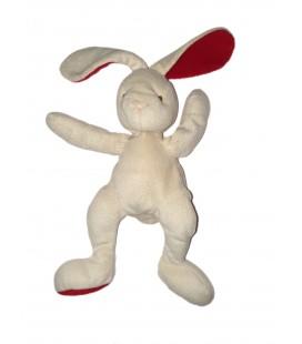 Doudou Lapin blanc rouge Baby Nat 24 cm