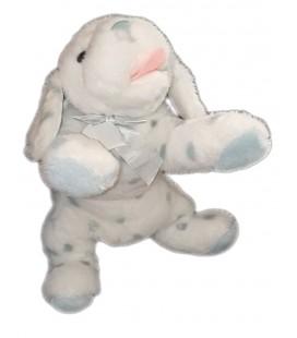 Peluche doudou chien blanc taches bleues Noeud 40 cm JACADI