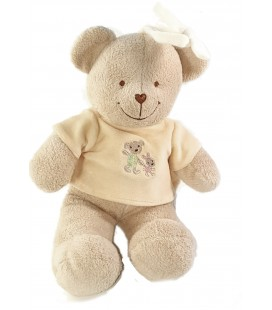 Peluche Musicale doudou Ours beige orange 30 cm Carrefour Tex Baby