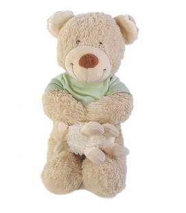 NE FONCTIONNE PLUS Peluche Musicale doudou Ours beige Mouton pull vert 30 cm Carrefour Tex Baby