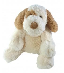 Peluche chien blanc beige marron 32 cm Carrefour TY021186