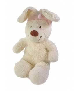 Peluche doudou Lapin blanc noeud rose 35 cm TEX Baby Carrefour