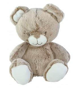 Peluche doudou Ours blanc marron chine 20 cm TEX Baby Carrefour