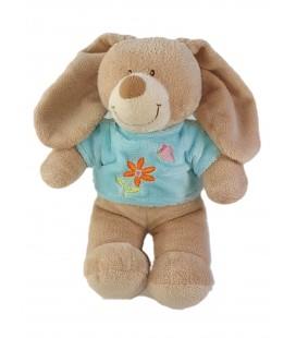 Peluche doudou Lapin beige pull bleu fleur papillon 30 cm Tex Baby Carrefour