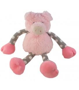 Peluche doudou Cochon rose gris pois longs bras jambes coulissants Carrefour