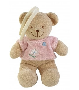 Doudou Peluche musicale Ours beige pull rose fleur Papiillon 30 cm TEX Baby Carrefour