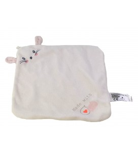 Doudou plat Lapin blanc rose Made with Lovr Carrefour Tex Baby