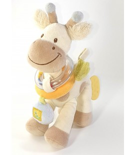 Doudou peluche activite Girafe blanc beige Grelot 25 cm Tex Baby
