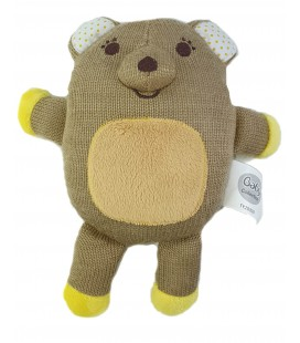 Peluche doudou tricot ours maron jaune 23 cm Baby Collection Carrefour