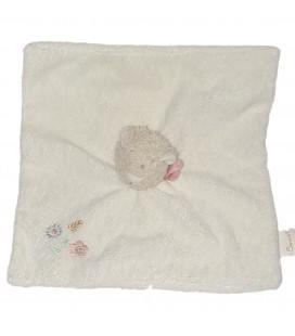 Doudou plat Ours blanc Fleurs Bengy Foulard rose Fleurs