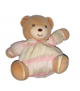 Doudou ours blanc rose Kaloo 10 ans de bonheur 16 cm