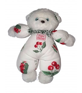 Peluche doudou ours blanc cerises Tartine et Chocolat 25 cm