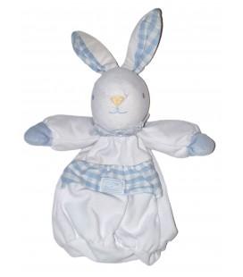 Doudou Lapin blanc bleu careaux Tartine et Chocolat 30 cm