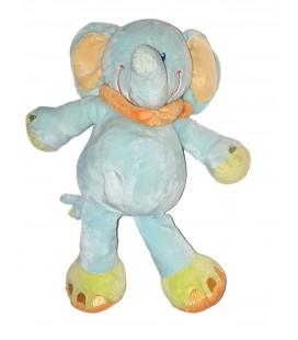 Peluche doudou Elephant bleu Foulard orange Nicotoy 25 cm