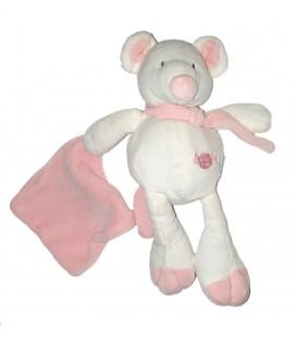 Doudou Souris blanche rose Mouchoir Echarpe Baby Nat 25 cm
