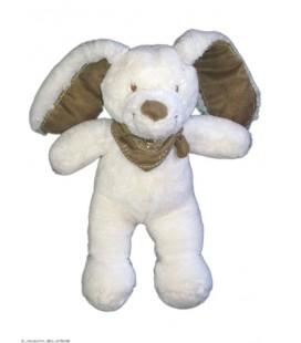 Doudou peluche Lapin Blanc TEX Baby Bandana foulard Taupe 25 cm Carrefour CMI