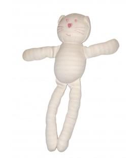 Doudou Chat blanc rose rayures 26 cm Bout Chou Monoprix