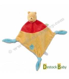 Doudou plat Winnie l'Ourson Disney Baby Rouge jaune orange Fleur bleue