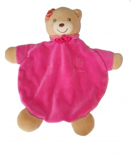 Doudou plat ours rose col orange Kaloo