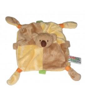 Doudou plat ours beige marron jaune Dodo d Amour MGM